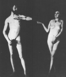 Duchamp and Madame René Clair posed for Man Ray, 1924